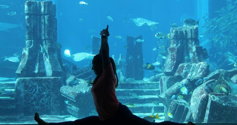 Underwater Yoga at the Atlantis the palm resort in Dubai